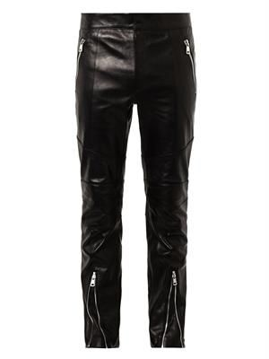 Zip-front leather trousers