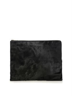 Calf-hair zip pouch