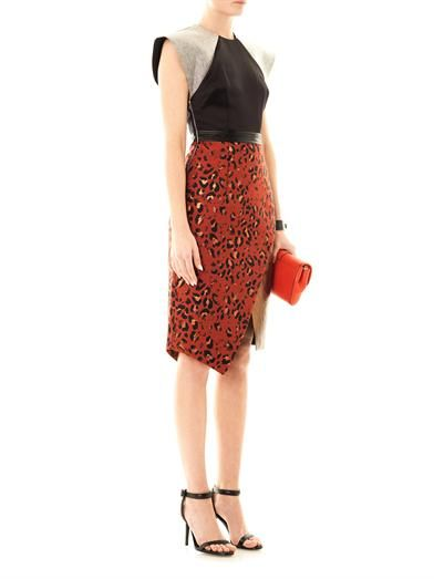 Josh Goot Leopard jacquard panel dress