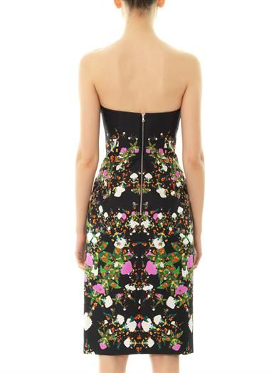 Josh Goot Orchid mirror-print strapless dress