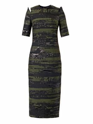 Slice jacquard pencil dress