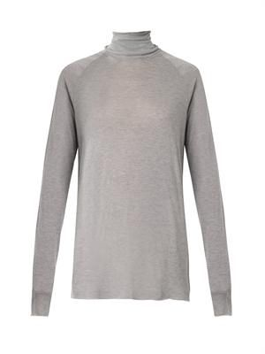 Roll-neck fine-knit sweater