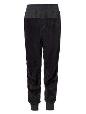 Velour relaxed-leg track pants