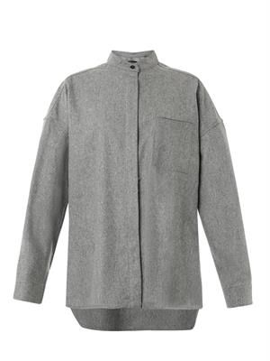 Oversized flannel-wool shirt