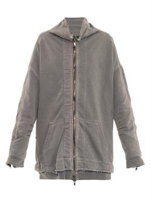 Distressed cotton-jersey zip sweatshirt