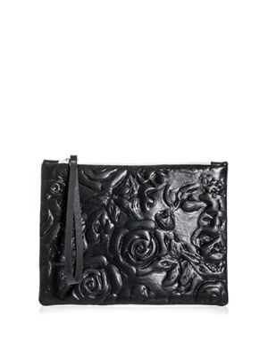Flower embossed leather clutch