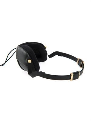 Pleat nappa leather over-ear headphones
