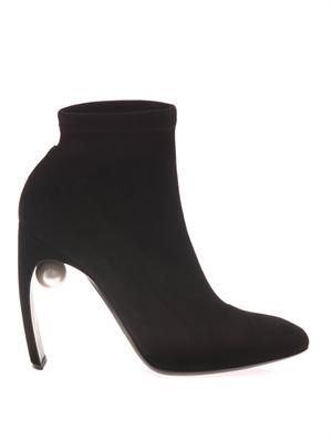 NICHOLAS KIRKWOOD Pearl-embellished suede ankle boots
