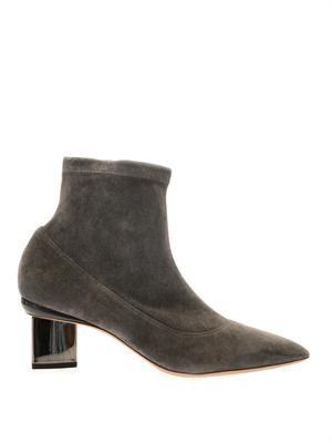 Suede metallic-heel boots