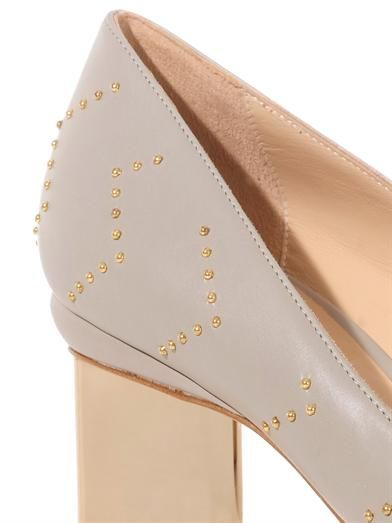 Nicholas Kirkwood Gold-tone studded leather pumps
