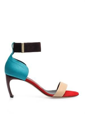 Colour-block ankle strap sandals