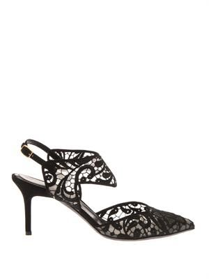 Embroidered-lace mid-heel sandals