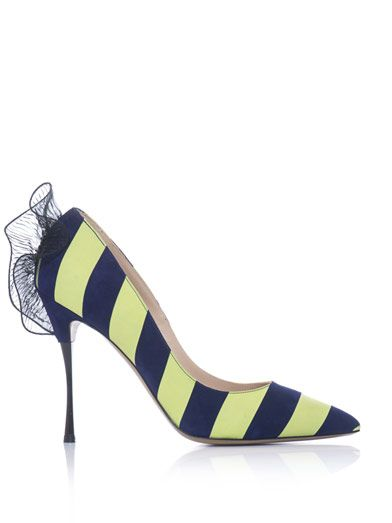 Nicholas Kirkwood Ruffle-back stripe pumps