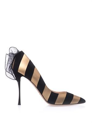 Leather and suede stripe point-toe pumps