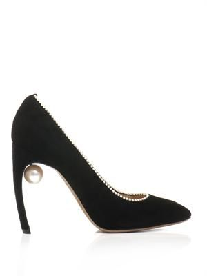 Pearl-trimmed suede pumps