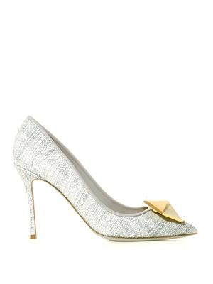 Point-toe high-heel raffia pumps