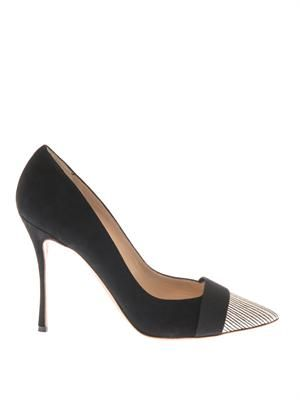 Suede and snakeskin point-toe pumps