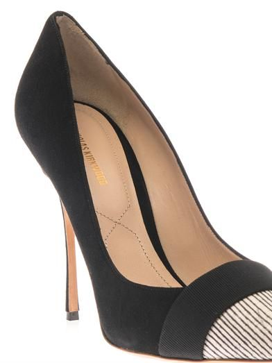 Nicholas Kirkwood Suede and snakeskin point-toe pumps