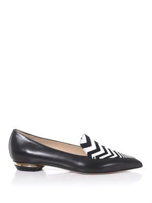 Zigzag suede and leather loafers
