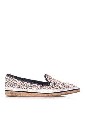 Chevron patterned raffia loafer