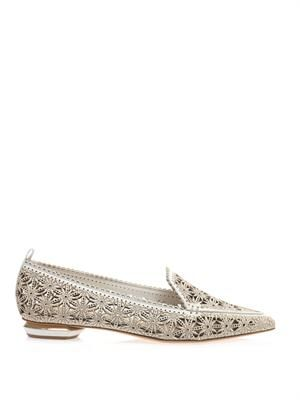 Floral laser-cut leather flats