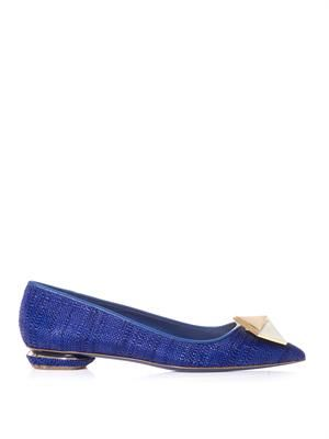 Point-toe raffia pumps