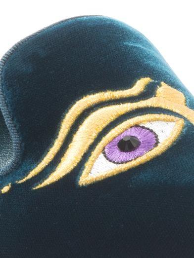 Nicholas Kirkwood Embroidered-face velvet flats