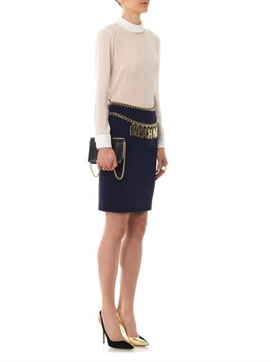 Moschino Buit-in belt pencil skirt