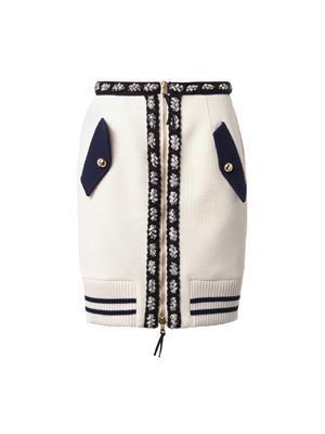 Bi-colour bouclé wool skirt