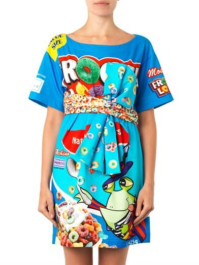 Moschino Froggy-print tie-front dress