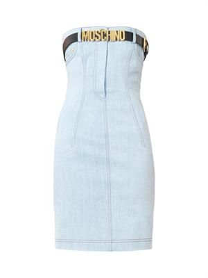 Strapless belted denim dress