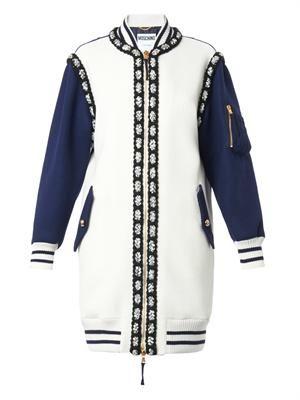 Longer-length wool bomber jacket