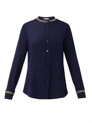 Chain-trimmed crepe blouse