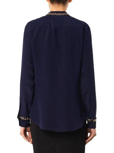 Moschino Chain-trimmed crepe blouse