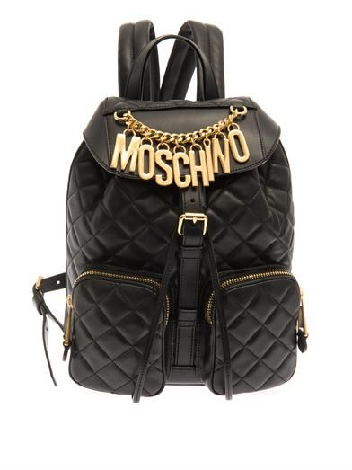 Moschino Lettering quilted-leather backpack