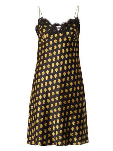 Moschino Button-print silk slip dress
