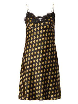Button-print silk slip dress