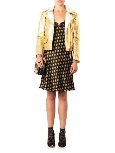 Moschino Button-print silk slip dress