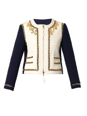 Chain-embellished bouclé jacket