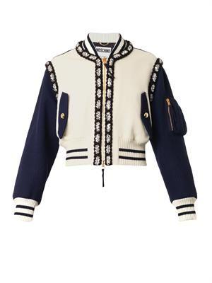 Shorter-length wool bomber jacket