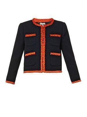 Contrast-trim wool-crepe jacket