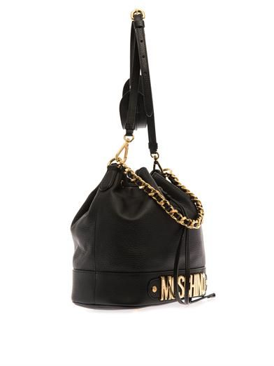 Moschino Lettering leather bucket bag