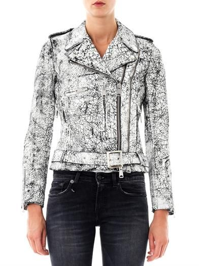 R13 Cracked leather biker jacket