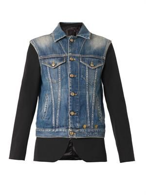 Denim gilet overlay tuxedo jacket