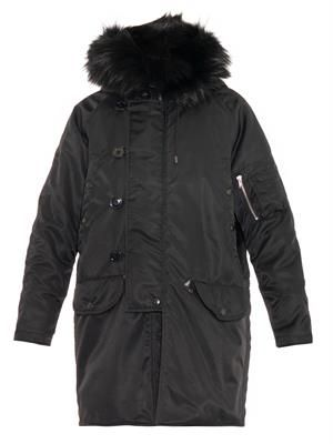 Fur-trimmed hood parka coat