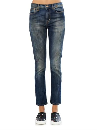 R13 Low-slung skinny slouch jeans