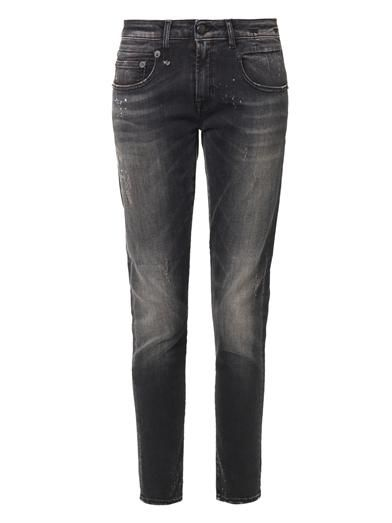 R13 Distressed mid-rise Boy Skinny jeans