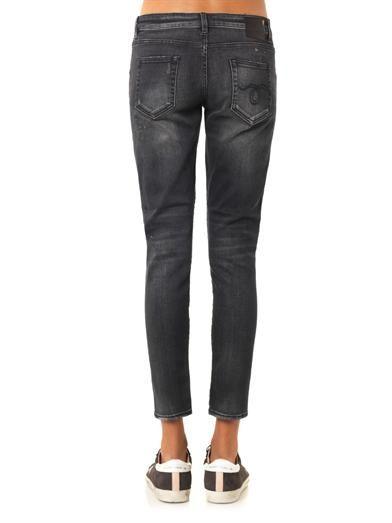 R13 Distressed mid-rise Boy Skinny jeans