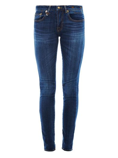 R13 Faded low-rise skinny jeans