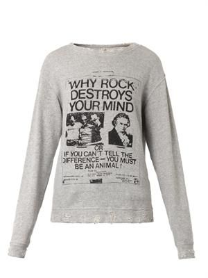 Punk-print distressed sweatshirt